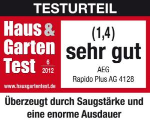 Testurteil sehr gut: AEG AG 4128 Rapido Handstaubsauger